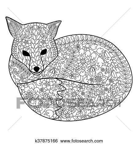 Fuchs Ausmalbilder Für Erwachsene Vektor Clip Art