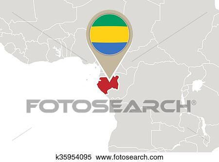 Gabon World Map.Clipart Of Gabon On World Map K35954095 Search Clip Art