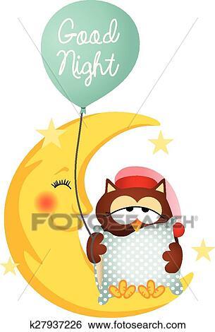 clip art of good night owl holding a balloon k27937226 search rh fotosearch com Night Owl Graphics night owl clip art