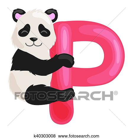 P Letter Images.Letter P With Animal Panda For Kids Abc Education In