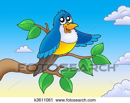 Clipart Mignon Oiseau Bleu Sur Branche K3611061 Recherchez