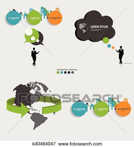Clip Art Of Modern Infographics Template Style Bubble Speech Tree