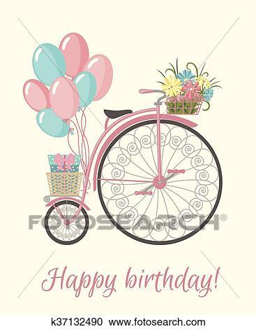 Retro Bicicletta Stile Con Fiori E Balloons Clipart