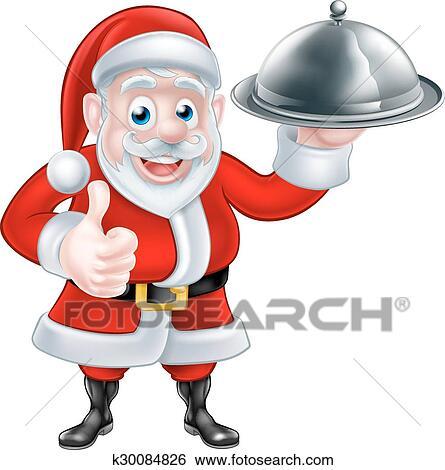 Clip Art Of Santa Holding Christmas Dinner K30084826 Search