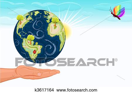Save The Earth Our Green Planet Clipart K3617164 Fotosearch