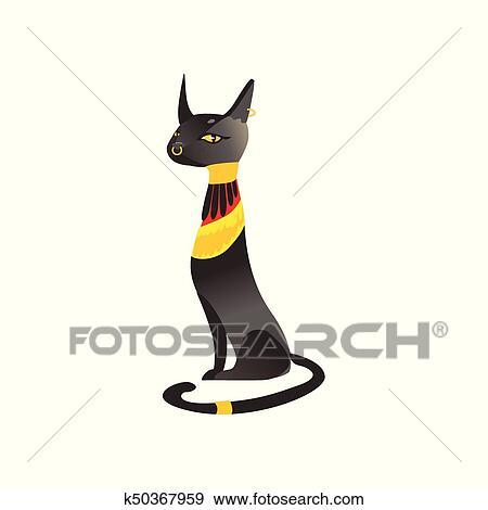 Clip art seduto gatto nero bastet egitto antico for Gatto clipart