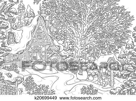 Snow Covered Old Rustic Home Black And White Outline Illustration