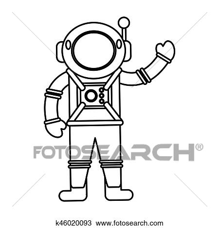 Clipart Of Astronaut Spacesuit Helmet Outline K46020093