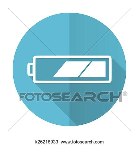 Drawing Of Battery Blue Flat Icon Charging Symbol Power Sign