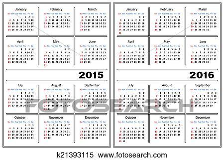 Clipart Of Calendar Template 2015 2016 K21393115 Search Clip Art
