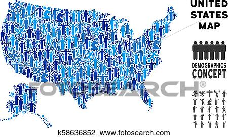 Demographics USA With Alaska Map Clipart