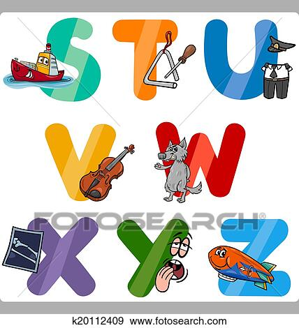 Cartoon Illustration Of Funny Capital Letters Alphabet With Objects For Language And Vocabulary Education Children From S To Z