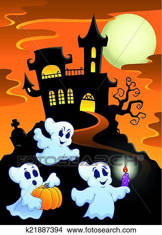 Frequentato castello con fantasmi clipart k