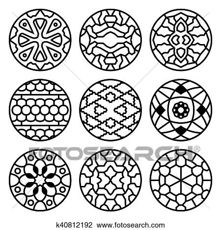 clipart of korean traditional vector ancient buddhist patterns