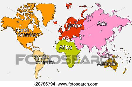 Drawings of Map with Country Names k28786794 - Search Clip Art ...