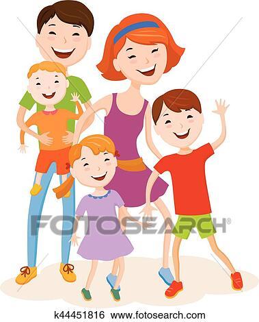 Clipart mignon dessin anim famille dans color - Dessin anime de la famille pirate ...