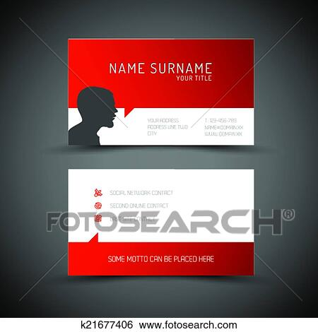 Clip Art Of Modern Simple Red Business Card Template With User