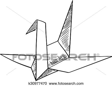 Clipart Of Origami Crane Paper Bird Sketch Icon K30977470 Search