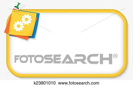 Clipart of yellow frame with pushpin and cogwheels k23801010 ...