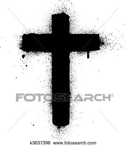 clip art of cross spray graffiti ink vector ill k3637398 search