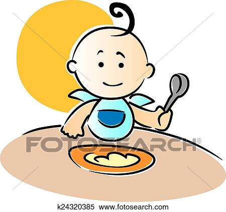clipart of cute little baby sitting eating food k24320385 search rh fotosearch com baby eating food clipart