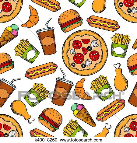 Clipart Of Fast Food Snacks Drinks Seamless Background K40018260