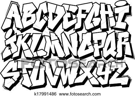 clip art of graffiti font alphabet k17991486 search clipart rh fotosearch com font clipart letters font clipart online
