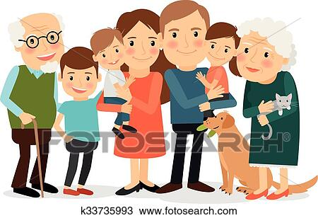 clipart of happy big family portrait k33735993 search clip art rh fotosearch com big family clipart images big family clipart black and white