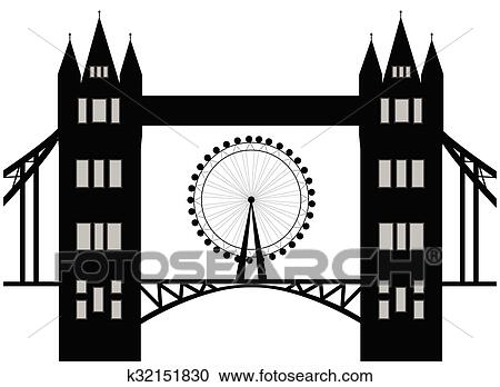 Image Of Cartoon Tower Bridge And London Eye Silhouette