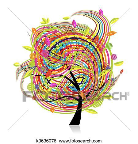 Clip Art Lustig Frühling Baum Für Dein Design K3636076