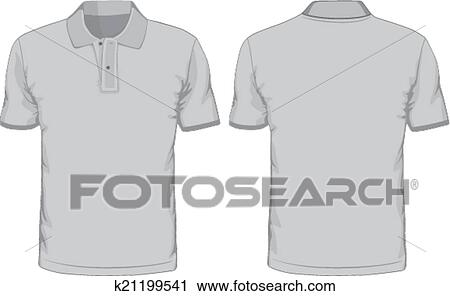 Mens Polo Shirts Template Front And Back Views Vector Illustration