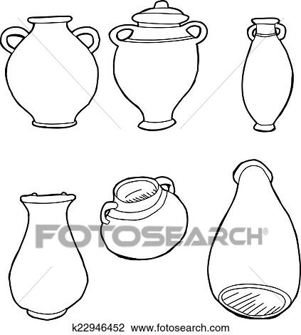 Clipart Of Outlined Greek Vases K22946452 Search Clip Art
