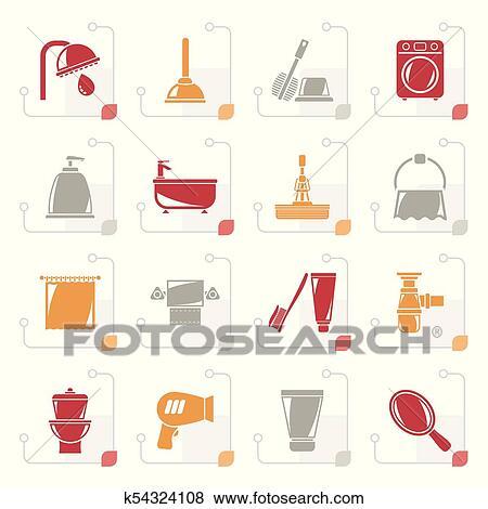 Stilisiert, badezimmer, und, hygiene, gegenstände, heiligenbilder Clip Art
