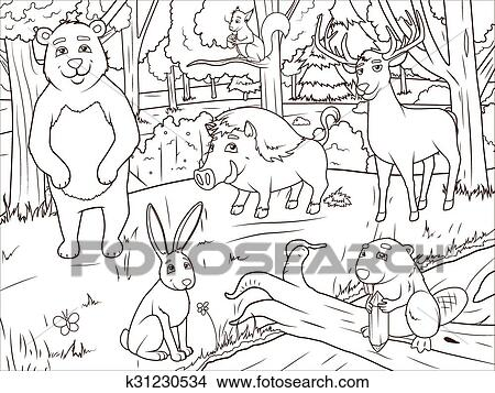 Wald Karikatur Tiere Ausmalbilder Vektor Clipart K31230534