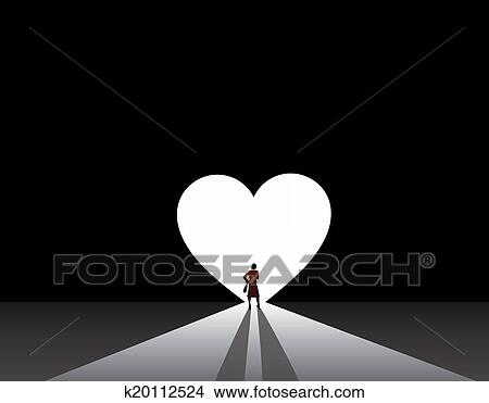 Well Dressed Woman Silhouette Stand Front Of Big Love Heart Door Stylish Nicely Business In Suit Thinking Bright White
