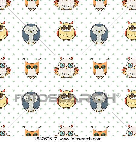 Aleatorio Búhos Seamless Pattern Lindo Nignht Birds Para Libros Para Colorear Envoltura Impresión Textile Clip Art