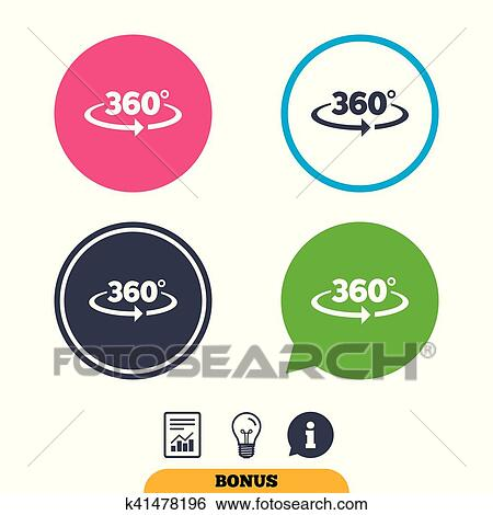 Clip Art Of Angle 360 Degrees Sign Icon Geometry Math Symbol