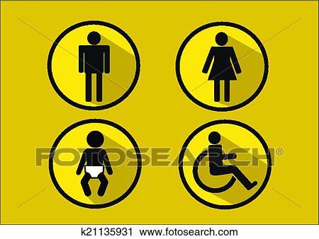 Clipart Baño Símbolo Icono De Mujer Hombre Incapacidad Y