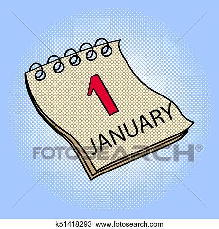 Illustration Calendrier.Calendar January 1 Pop Art Raster Illustration Drawing