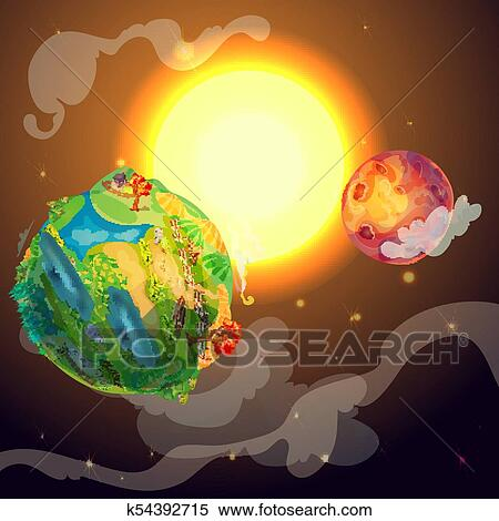 clipart of cartoon colorful earth planet template k54392715 search