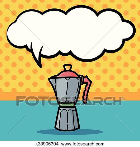 Coffee kettle maker color doodle Clipart | k33906704 ...