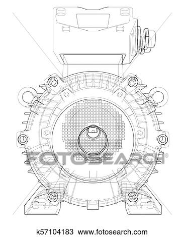 Electric Motor Outline Vector Clipart K57104183