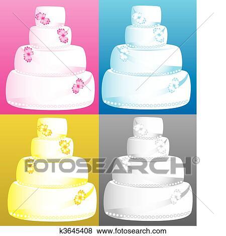 Clip Art Hochzeitstorten K3645408 Suche Clipart Poster