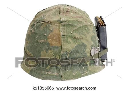 Us Army Helmet Vietnam War Period With Camouflage Cover Magazine With Ammot And Dog Tags Stock Photography K51355665 Fotosearch
