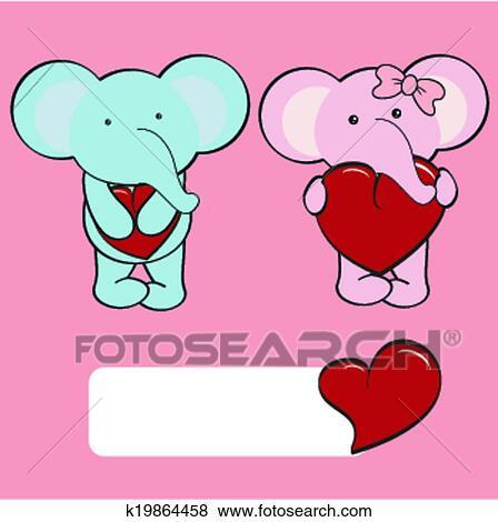 Clipart Elephant Bebe Dessin Anime Amour Ensemble K19864458