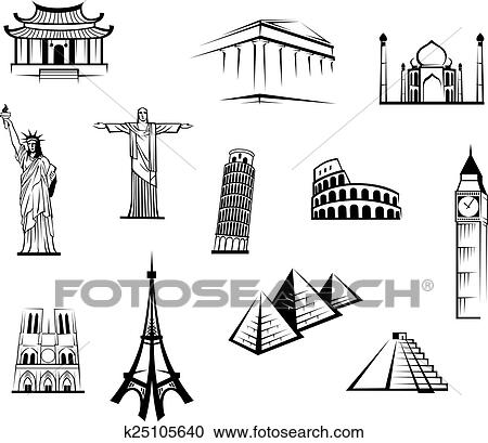 Black And White Vector Doodle Sketch Icons Of Famous Worldwide Landmarks For Travel Tourism Industry Design