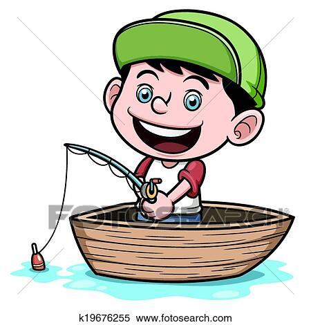 clipart of boy fishing k19676255 search clip art illustration rh fotosearch com boy fishing clipart png boy fishing clip art free