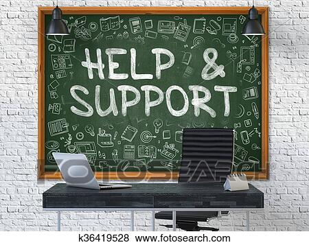 Stock Illustration  Chalkboard On The Office Wall With Help And Support Concept Fotosearch