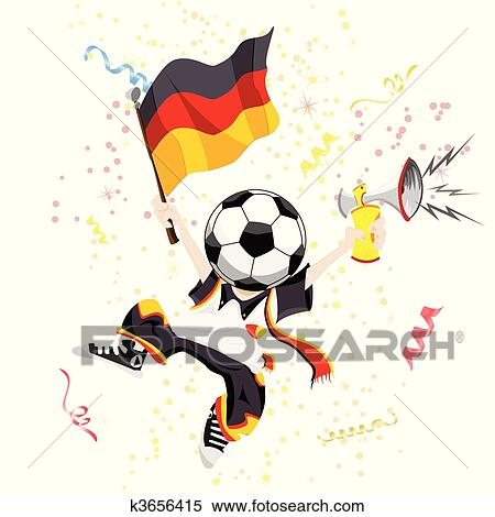 Deutsch Fussballfan Mit Kugel Kopf Clipart K3656415