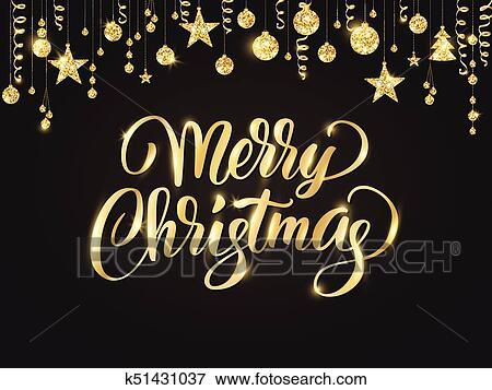 Frohe Weihnachten Glitzer.Frohe Weihnacht Reichen Geschrieben Lettering Goldenes Glitzer Umrandungen Girlande Mit Hängender Kugeln Und Ribbons Clip Art
